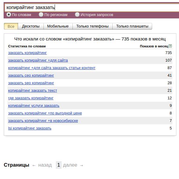 Пример подбора ключевых слов в системе Яндекс Wordstat.