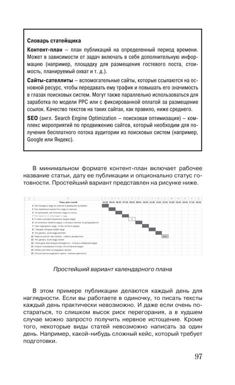 Страница с визуализацией контент-плана на азе матрицы контента.